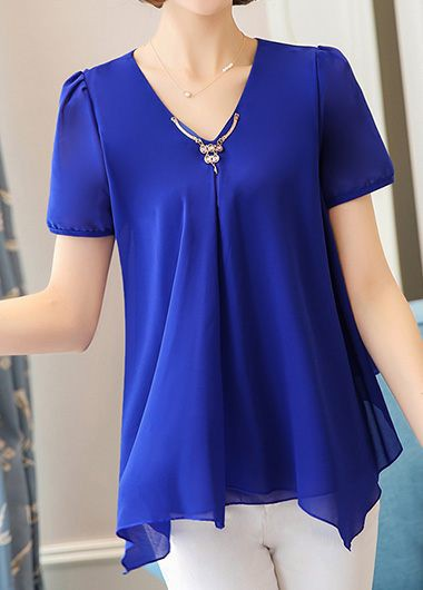 Raabta Fashion Blue Plain V Neck Crop Tops for Women