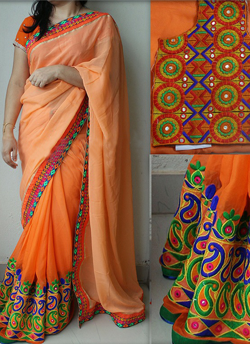 Shree Creations Orange Georgette Embroidered Saree With Blouse