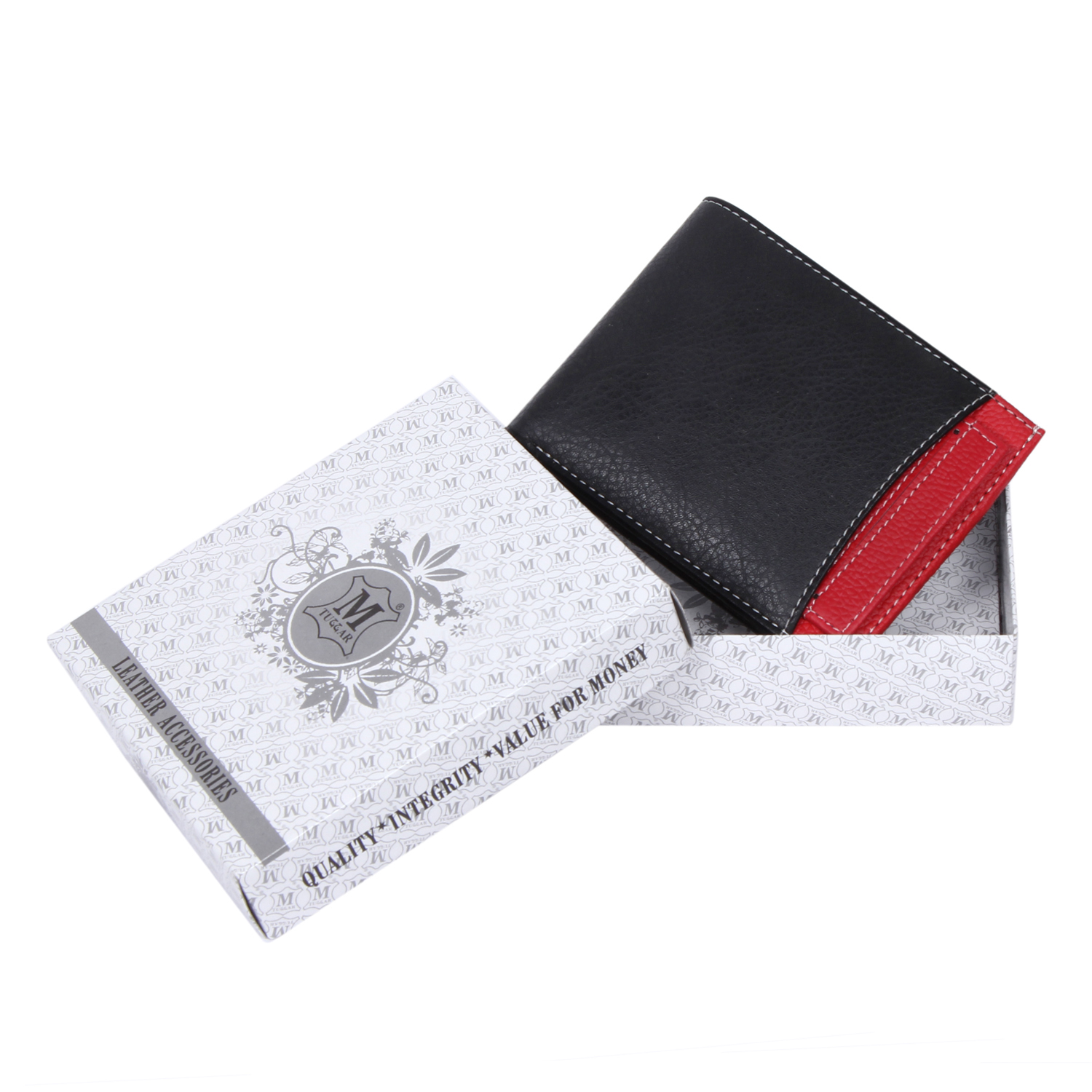 Mtuggar Men's Wallet Black Red1651  Synthetic leather/Rexine