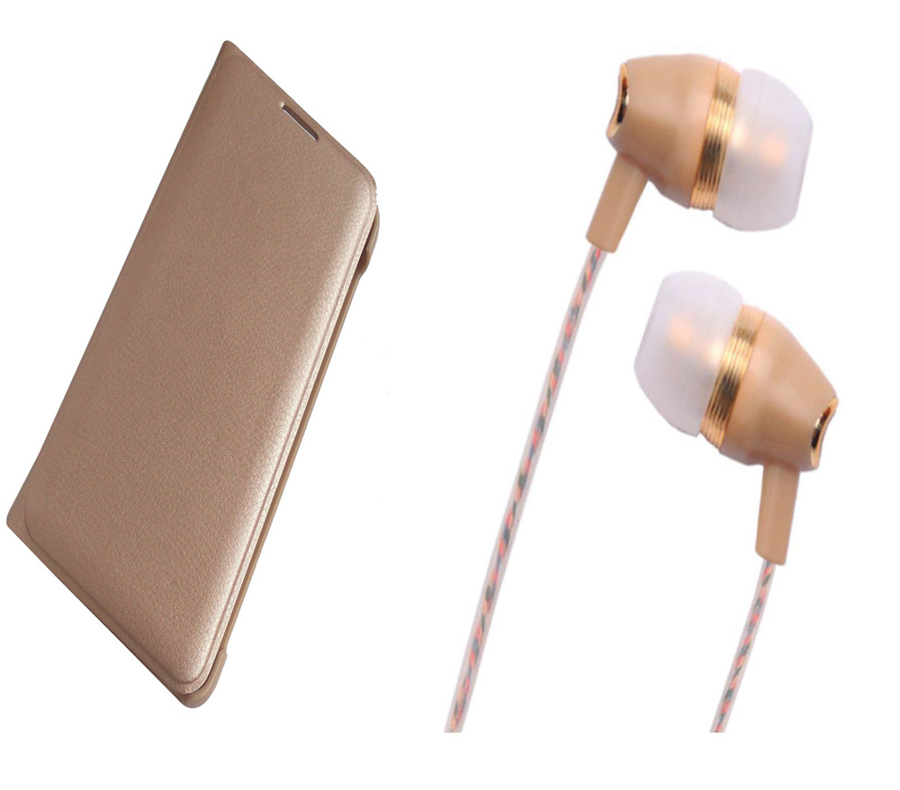 Redmi 4A Gold Leather Flip Cover with Fragrant Noise Cancellation Earphones with Mic