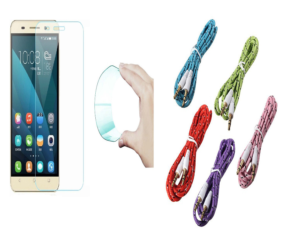 Reliance JIO LYF Water 1 Curved Edge 9H HD Flexible Tempered Glass with Nylon 35mm Aux Cable