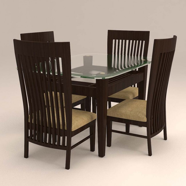 Caspian Vertical Striped 4 Seater With Glass Top Dinnng Set.