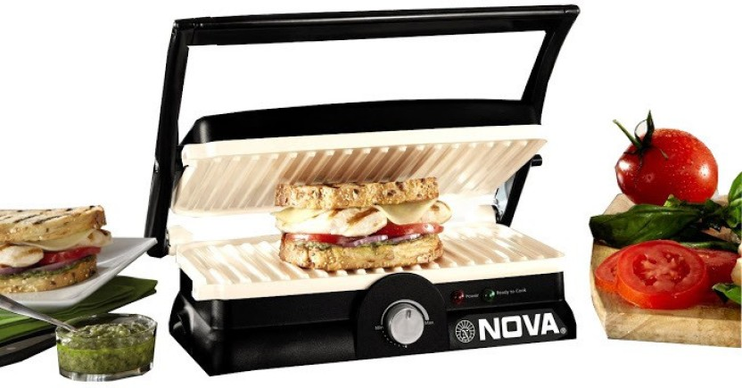 Nova NSG 2451 3in1 Panni Grill Press Adjustable Temperature Control and Ceramic Coating Grill, Toast (Black and White) at shopclues