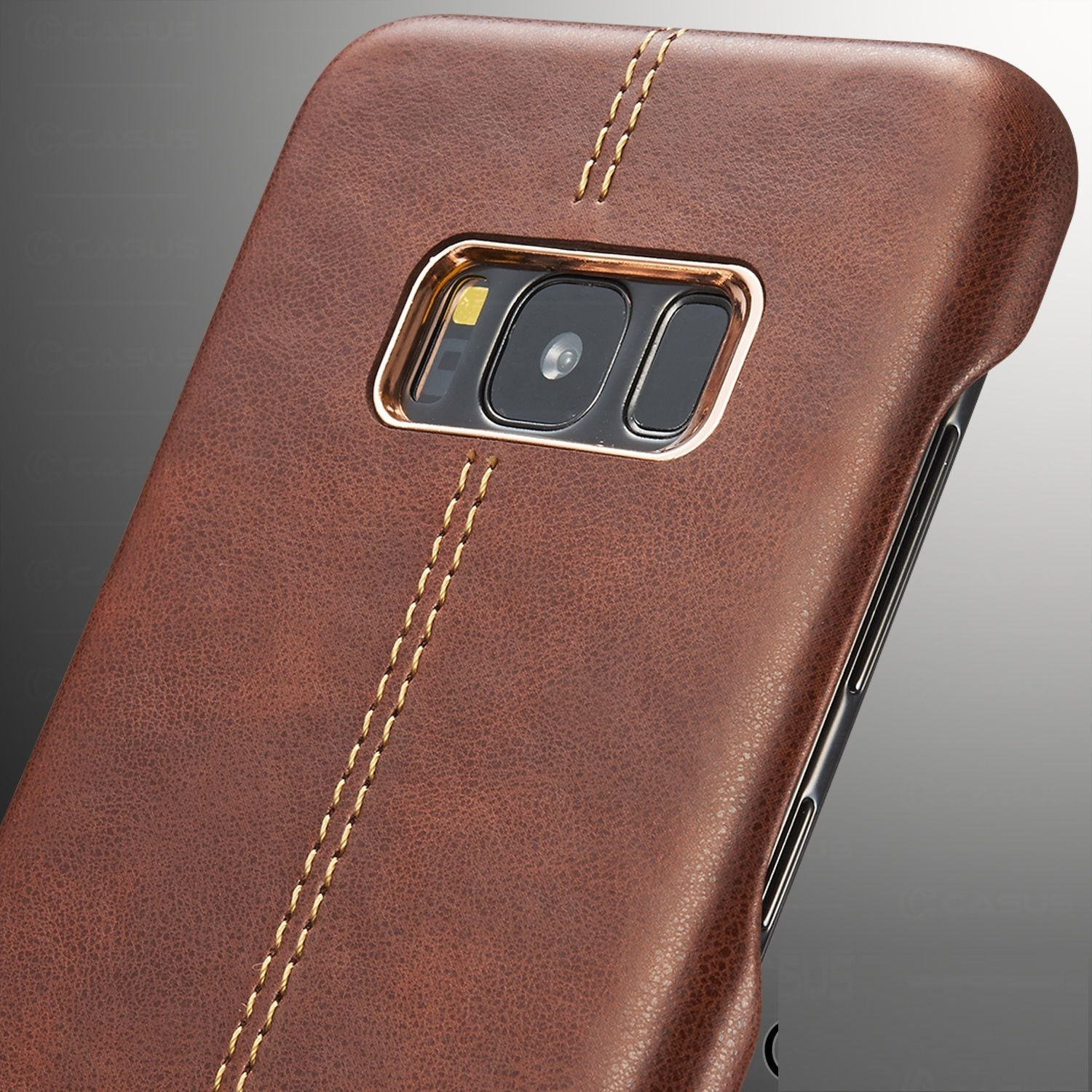 Leather Back Metal Bumper Frame Skin Case Cover for Samsung Galaxy S8 / S8+ Plus