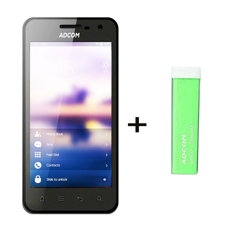 Combo Of Adcom A430 IPS - Black + APB 2200mAh Powerbank- Green