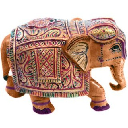 craft Wooden Hand Carved Painted Elephant Handicraft Elephant Gift Item