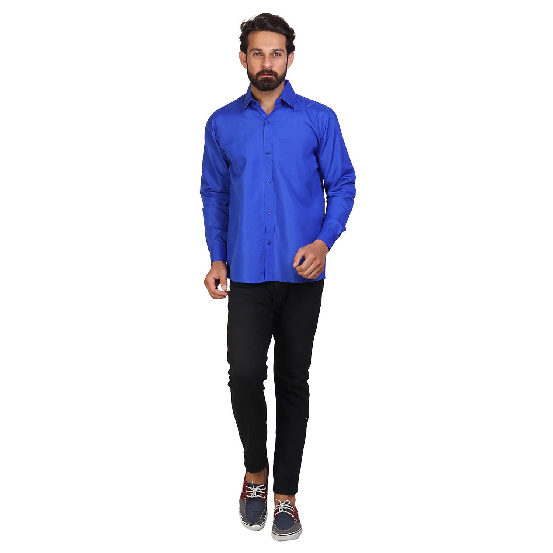 Men's Solid Formal Royal Blue Shirt