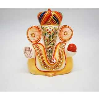 Indian Handicraft Marble Statue Turban Ganesh Ji Best Deals