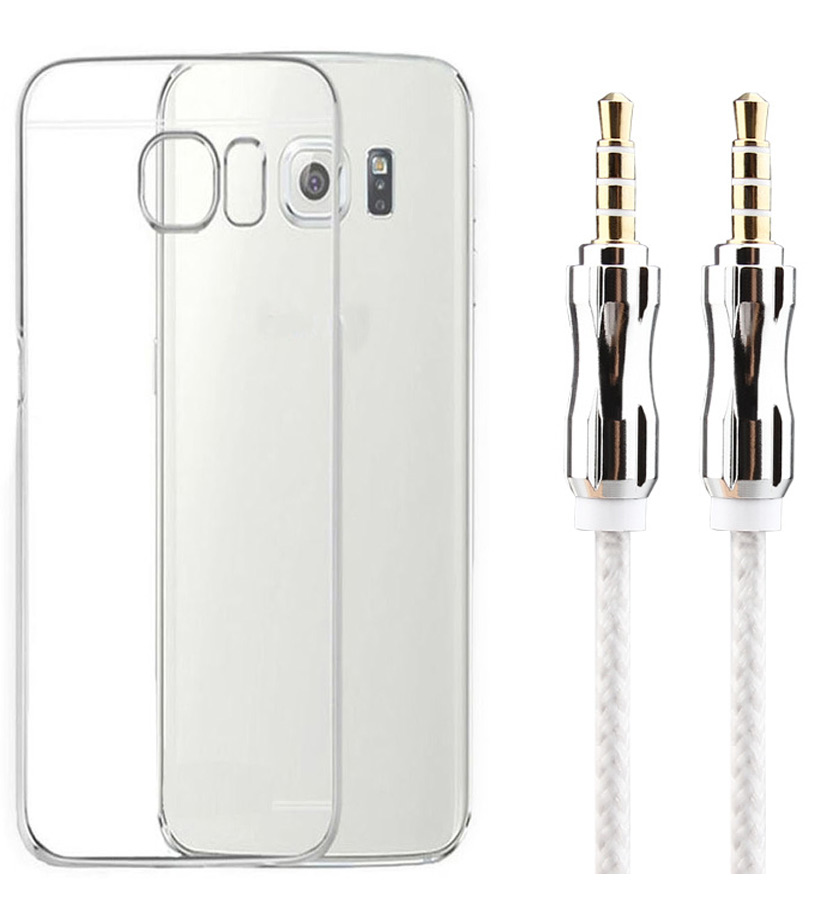 Sony Xperia E4 Soft Transparent TPU Back Cover with 3.5mm Metal Aux Cable