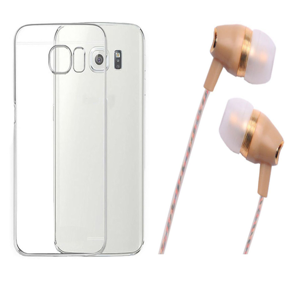 Samsung Galaxy S7 Soft Transparent TPU Back Cover with Fragrant Noise Cancellation Earphones with Mic