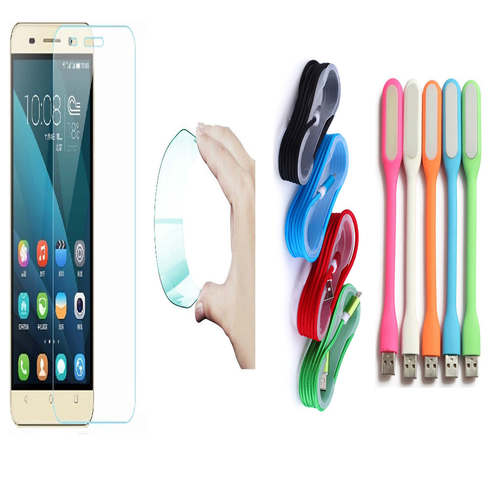 Reliance JIO LYF Water 11 0.3mm Curved Edge HD Flexible Tempered Glass with Nylon Micro USB Cable with USB LED Lamp