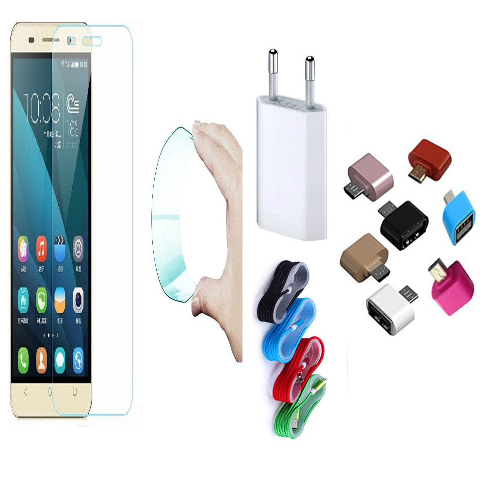 Samsung Galaxy On NXT 03mm Curved Edge HD Flexible Tempered Glass with Nylon USB Travel Charger and Micro USB OTG Adaptor