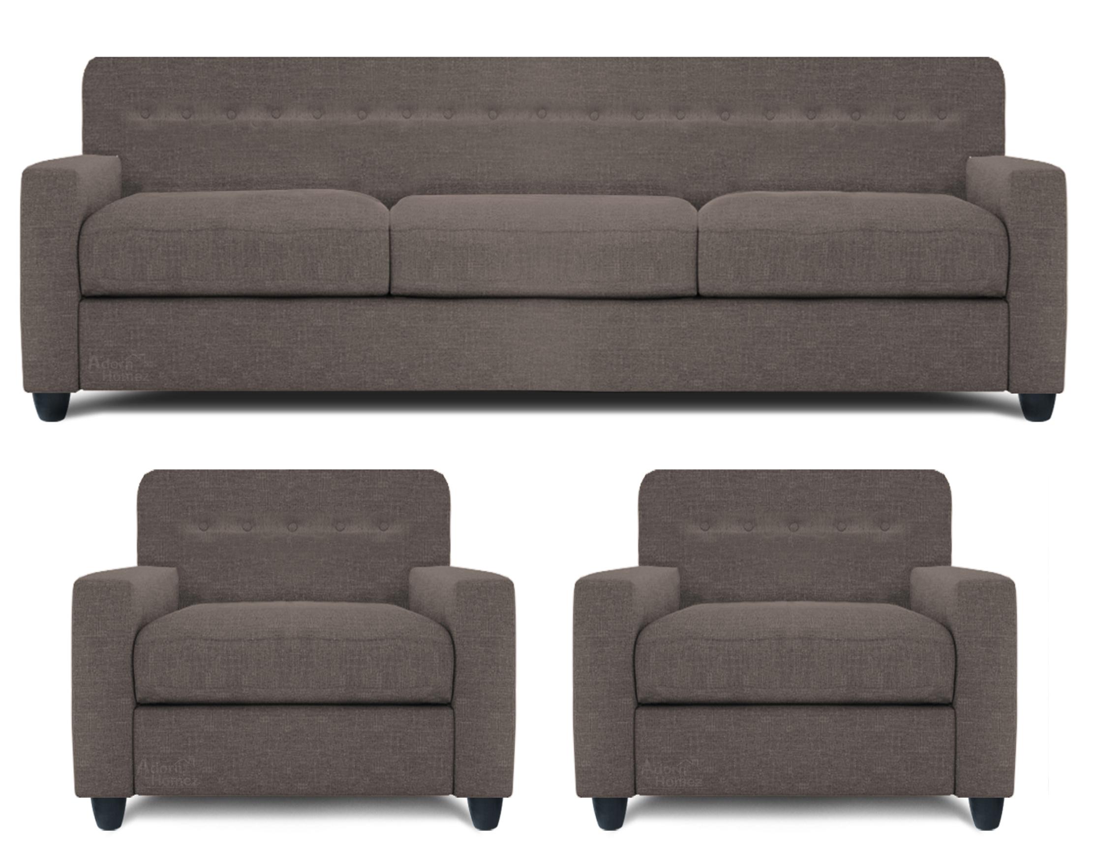 Adorn Homez Solitaire Fabric 3+1+1 Seater Sofa set-Grey