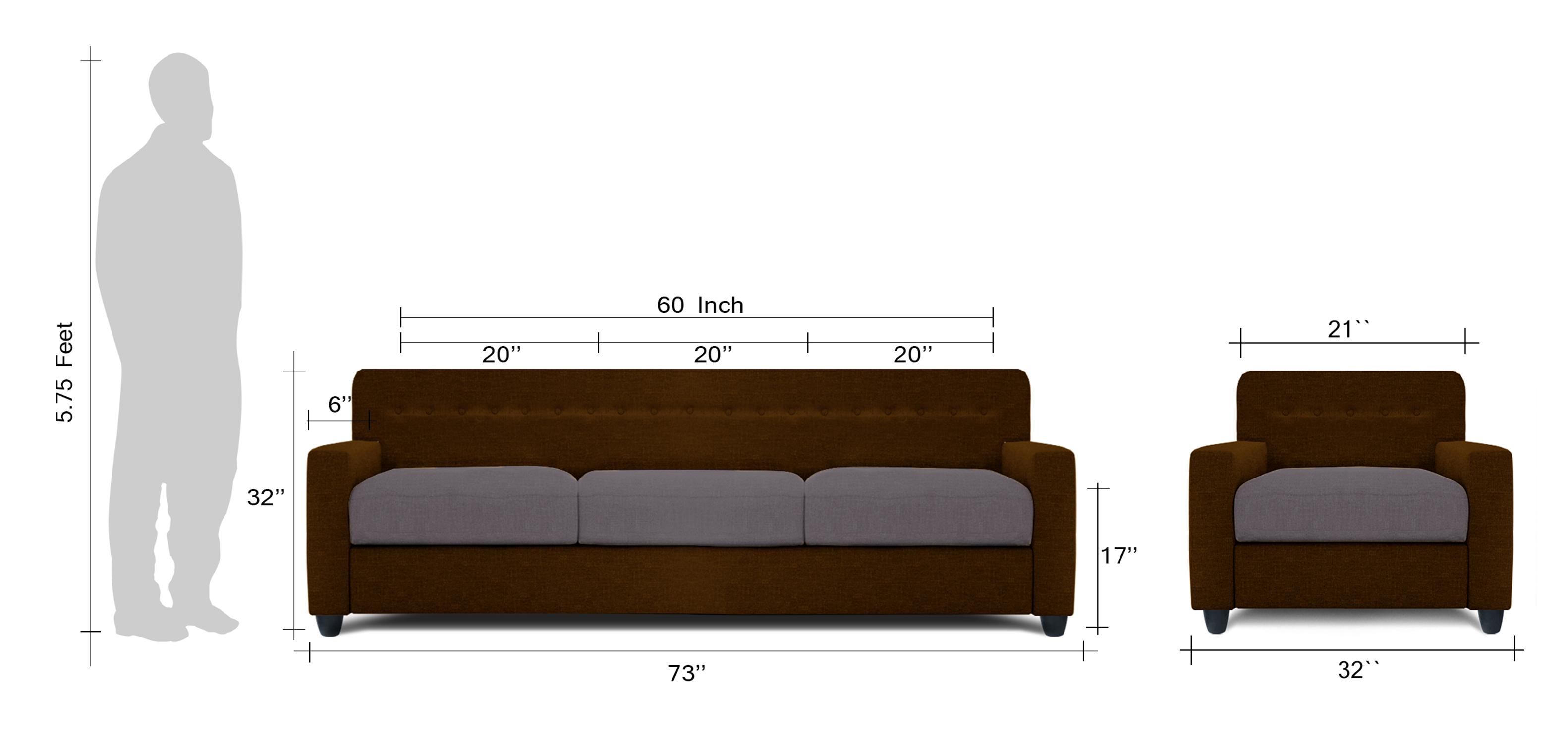 Adorn Homez Solitaire Fabric 1 Seater Sofa set Black