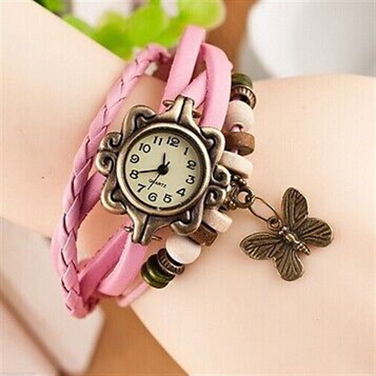 Pink Butterfly Bracelet Analog Watch For Women And Girls