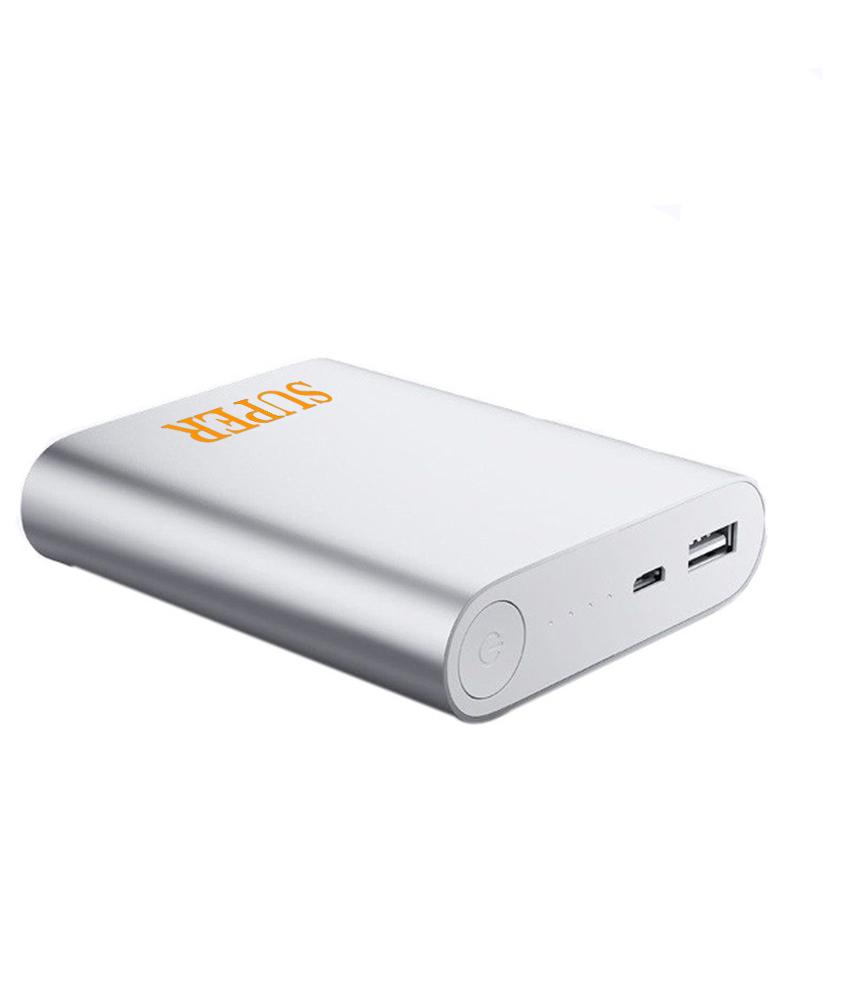 Hobins Light Weight Ultra Portable Battery Charger 10400 Mah Power Bank  Silver