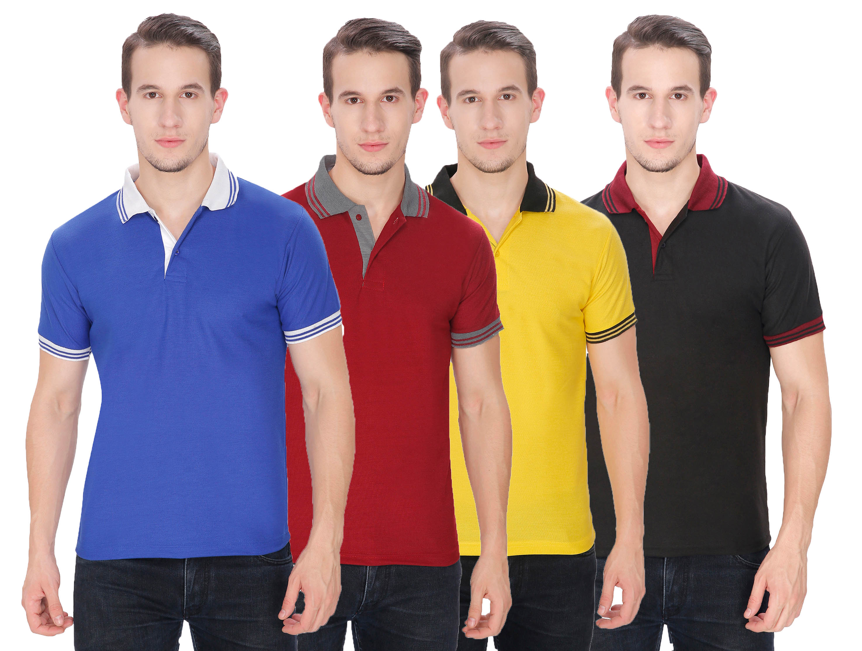 Baremoda Men's Black, Maroon, Yellow And Blue Plain Cotton Polo Collar T Shirt  Pack of 4