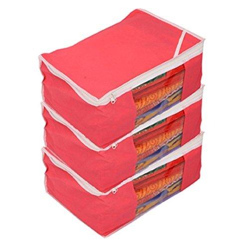 Kuber Industries trade; Non woven Saree cover Bag Set of 3 Pcs /Wardrobe Organiser/Regular Clothes Bag Pink 19173