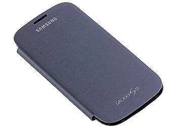 Blue Samsung Galaxy S3 Slll S 3 I9300 Leather Flip Cover Pouch Hard Back