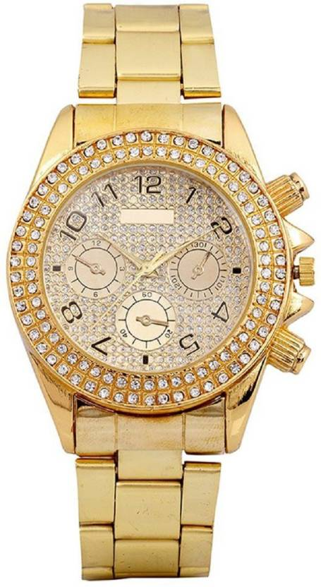 True Colors AD DIAMOND GOLD PLATED RICH MAN Analog Watch   For Men
