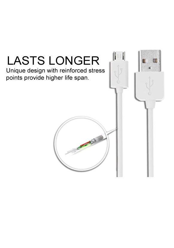 Just Click Data charging Cable  1 Mtr  USB Cable  White