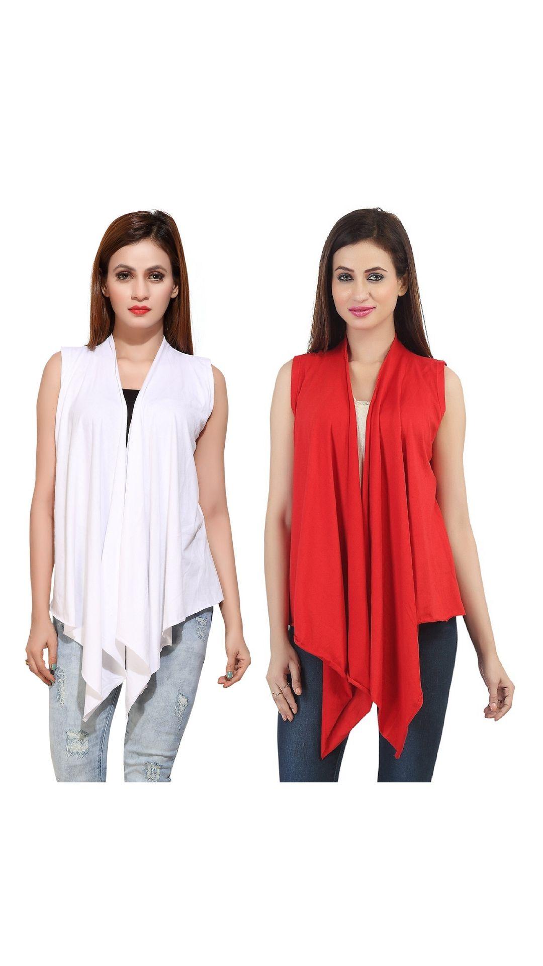 Bfly Women's Sleeveless Viscose Shrugs Pack of 2  White::Red