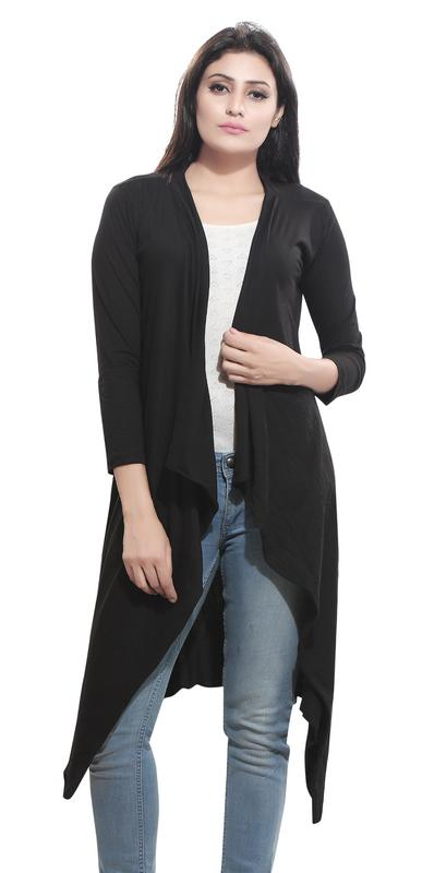 Bfly Women's Viscose Long Shrug  Black