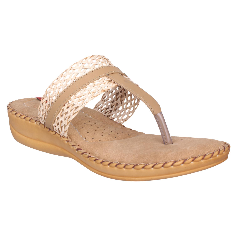 1 WALK COMFORTABLE DOCTOR SOLE WOMEN FLATS/SANDALS/FANCY WEAR/PARTY WEAR/ORIGINAL/CASUAL FOOTWEAR Beige