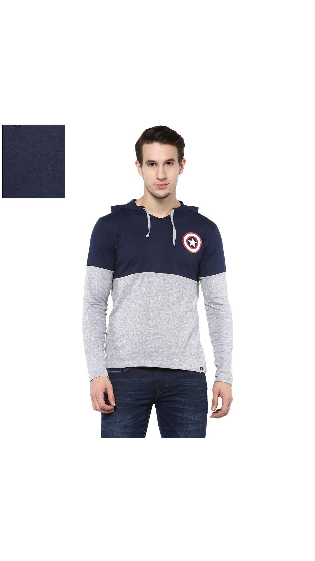 Urbano Fashion Men's Multicolor Hooded T Shirt