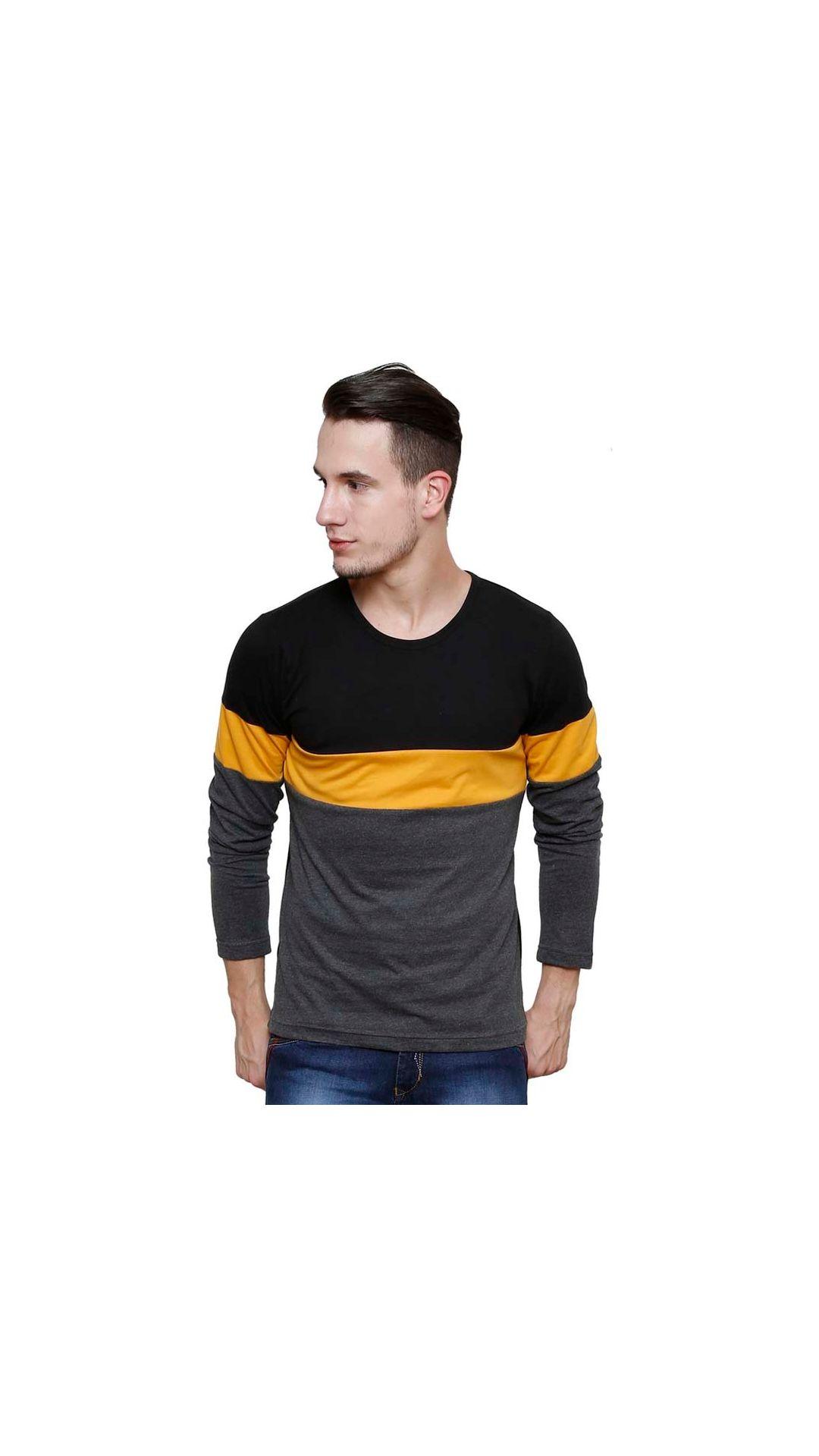 Urbano Fashion Men's Black Round Neck T Shirt