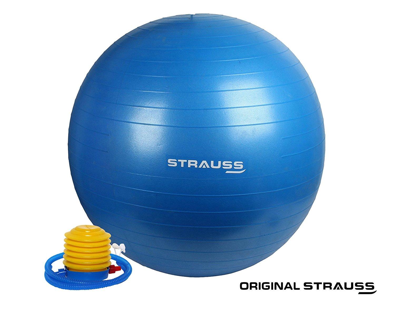 Strauss Anti Burst Gym Ball with Foot Pump, 85 Cm