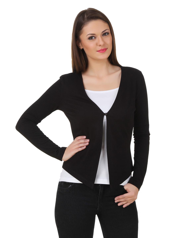Texco Black Solid Cotton Shrug for Women