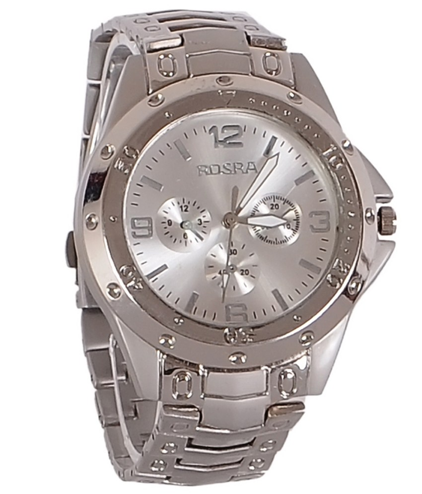 NG rosra silver analog watch for men