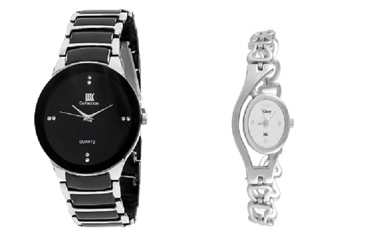 IIK Collection Black Silver and Glory Silver Chain Women Watches Couple For Men and Women