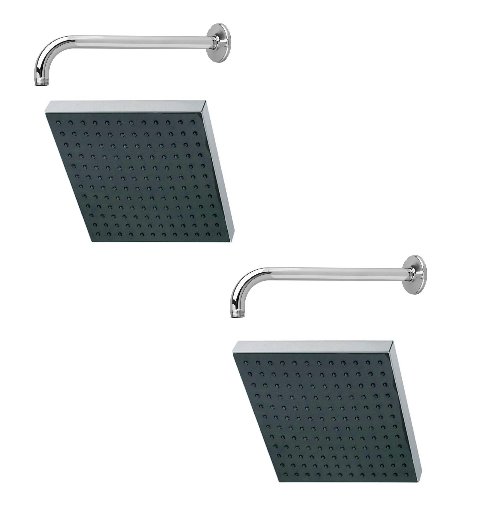 Prestige 6x6 Square Rain Shower Head with 15inch Round Arm  Pack of 2