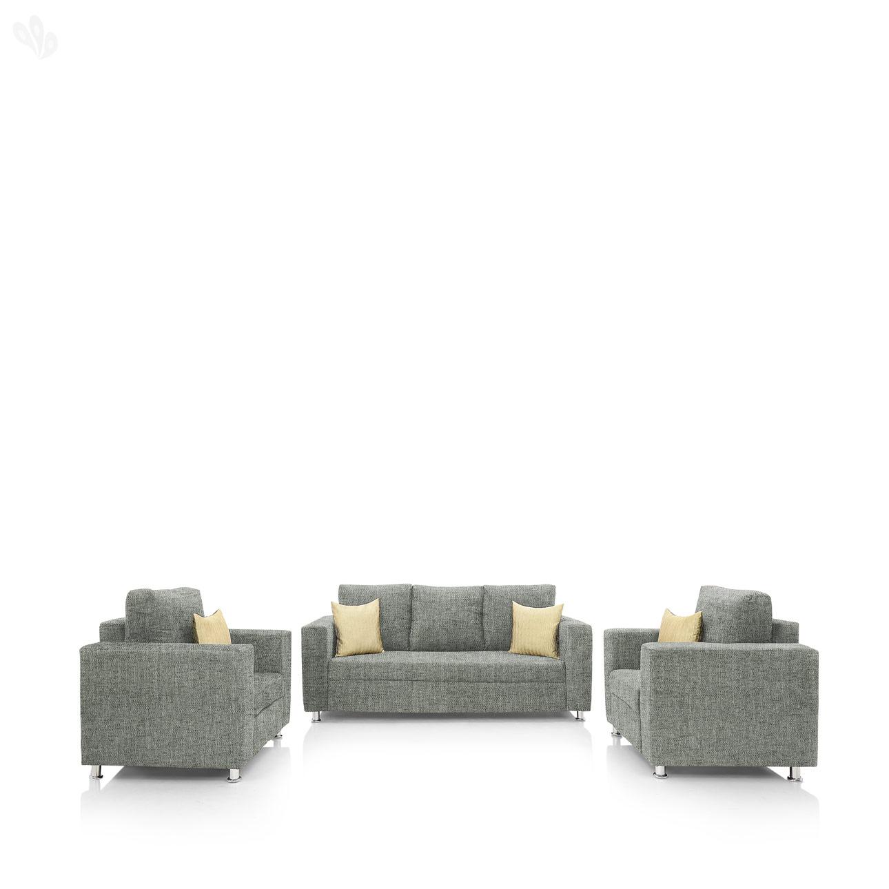 furniture4U   Fully Upholstered Sofa Set   Premium Valencia Grey  3+1+1