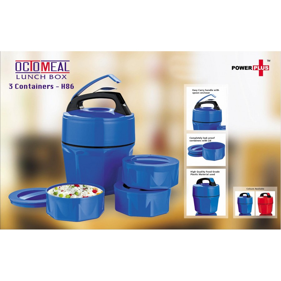 H 86 POWER PLUS OCTOMEAL LUNCH BOX 3 PLASTIC CONTAINERS  ASSORTED COLOUR PIECE 1
