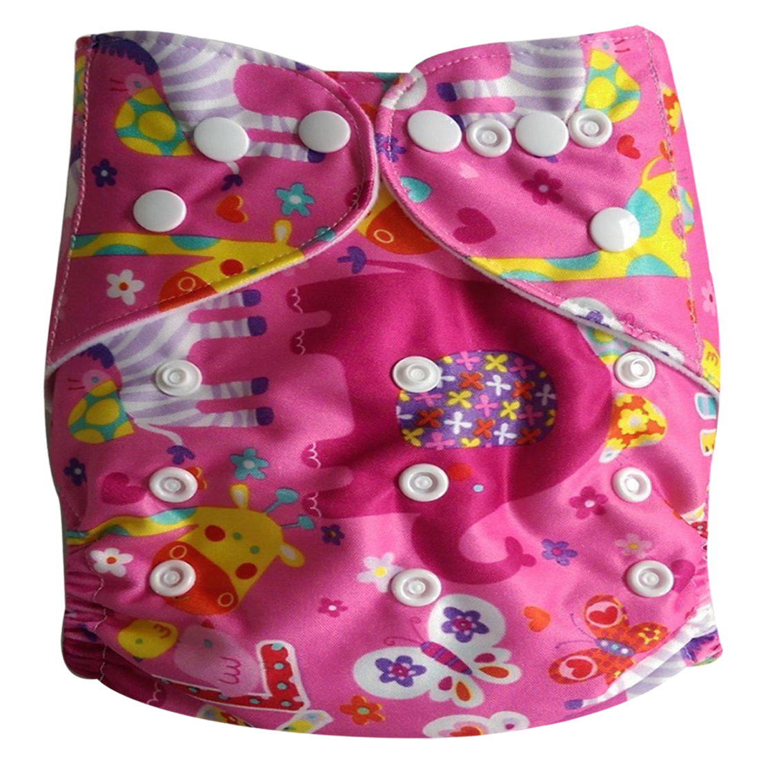 Tinytots Reusable Nappy washable Chemical free leak free Pocket Cloth Diaper with microfiber insert   pink animals
