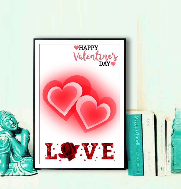 Heart poster for Love  12x18 inch