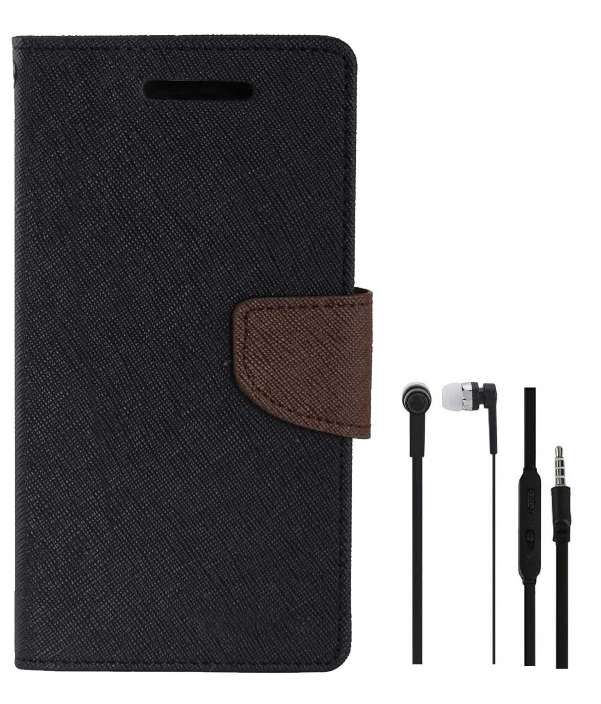 TBZ Diary Wallet Flip Cover Case for Samsung Galaxy On Max with Earphone  Black Brown