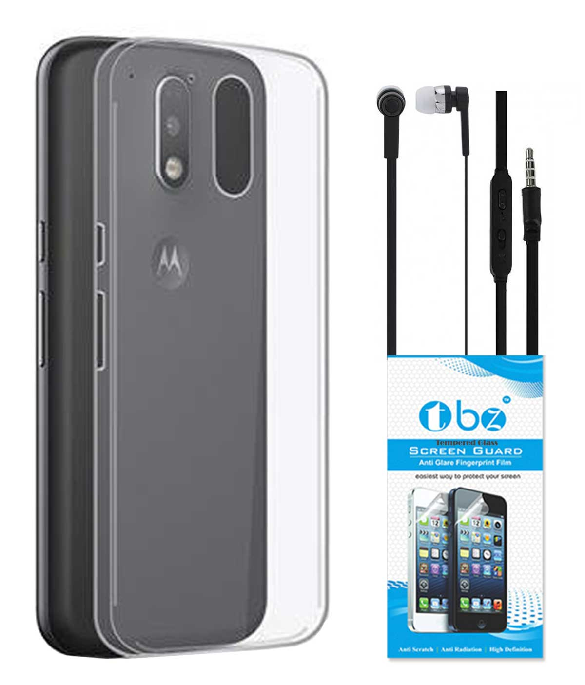 TBZ Transparent Silicon Soft TPU Slim Back Case Cover for Motorola Moto G4 Play with Earphone and Tempered Screen Guard
