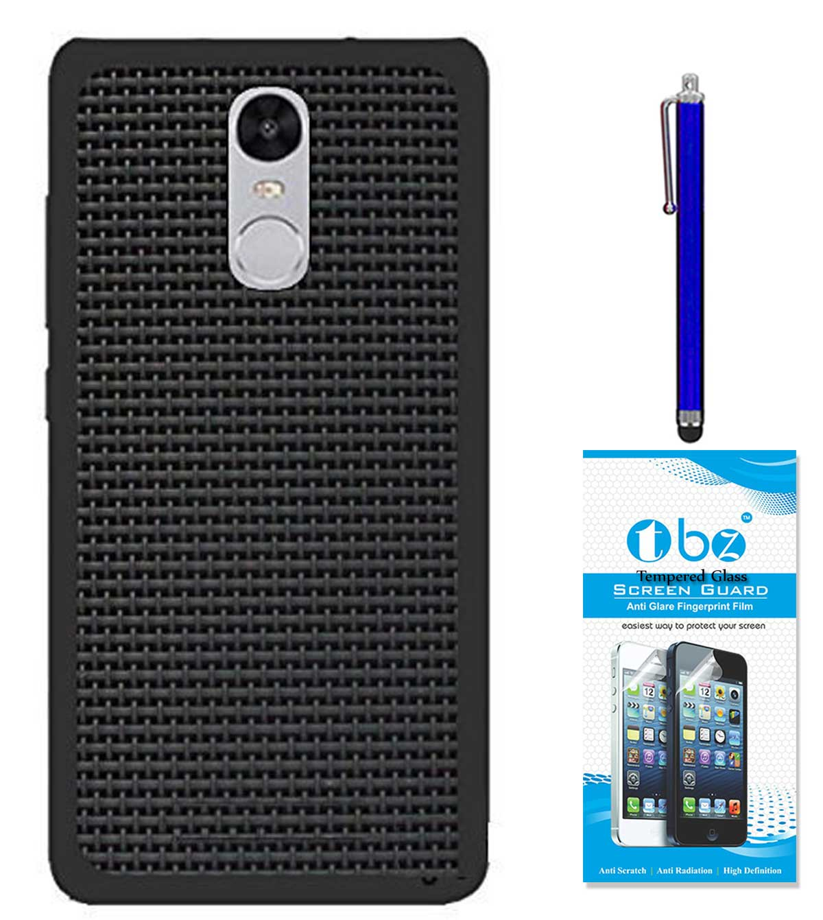 TBZ Rubberised Black Net/Jali Back Cover Case for Motorola Moto G5 Plus with Stylus Pen and Tempered Screen Guard