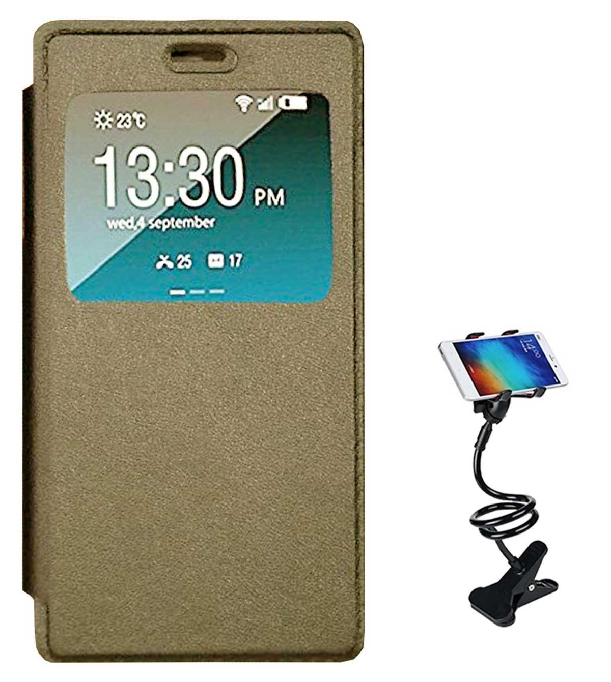 TBZ Window Premium Flip Cover Case for Vivo V5 with Flexible Tablet/Phone Holder Lazy Stand  Golden
