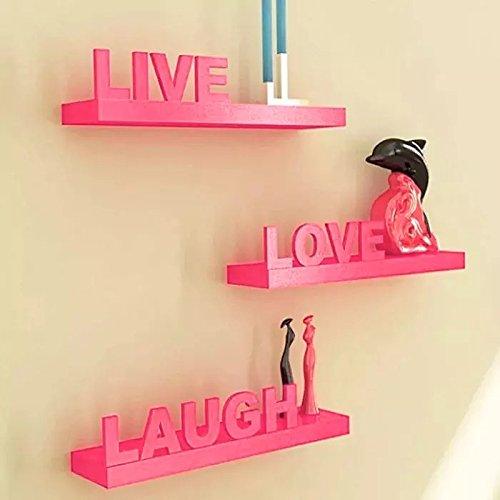 Shilpi Handmade Beautiful Wooden MDF Pink Floating Wall Shelves Set Of 3 PCs