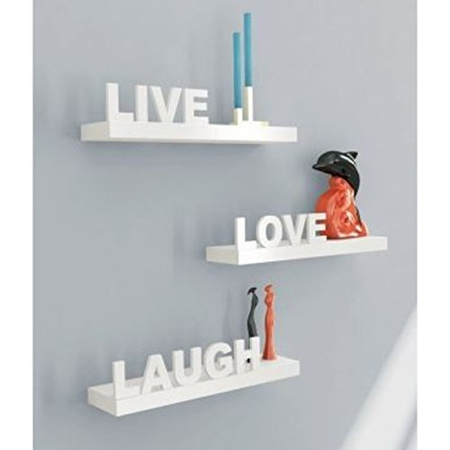 Shilpi Handmade Beautiful Wooden MDF Wight Floating Wall Shelves Set Of 3