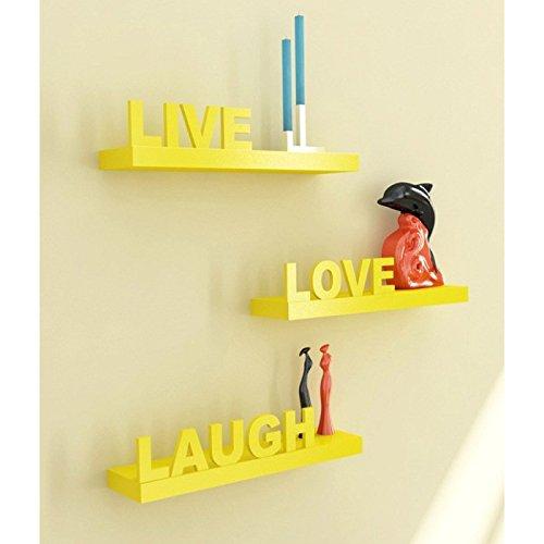 Shilpi Wooden Handmade Floating Wall Shelves Set of 3 PCs / Wall Decor Shelves