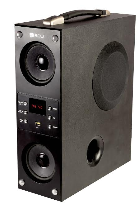 Flow Mini Boom Box Bluetooth 1 Channel Tower Speakers for Music Lovers Fully Loaded Feature 1.2 Feet Height  Black