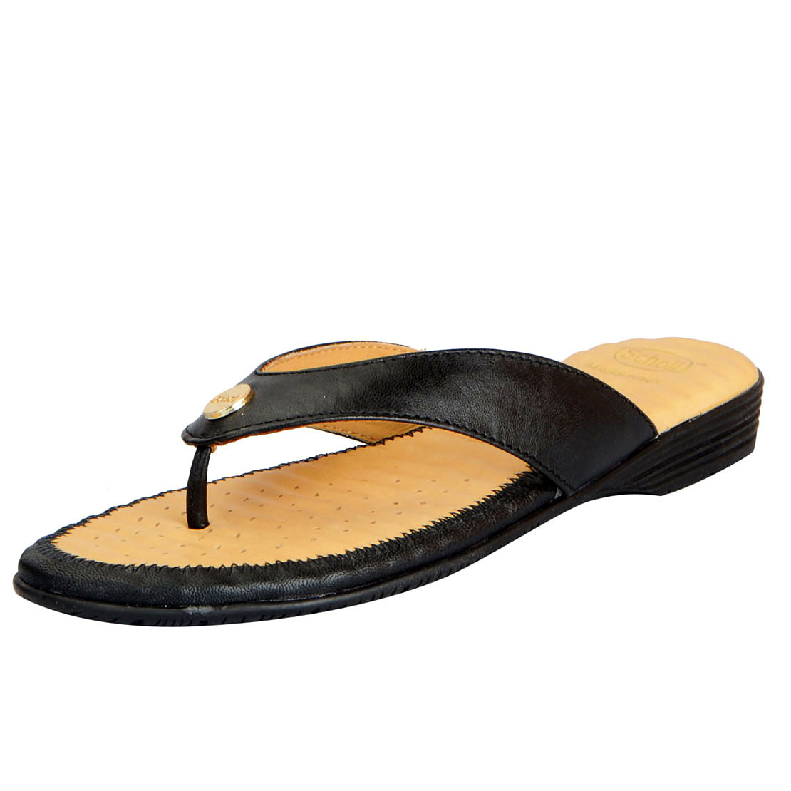 Dr.Scholls Women\'s Black Leather House and Daily Wear Flat Slippers