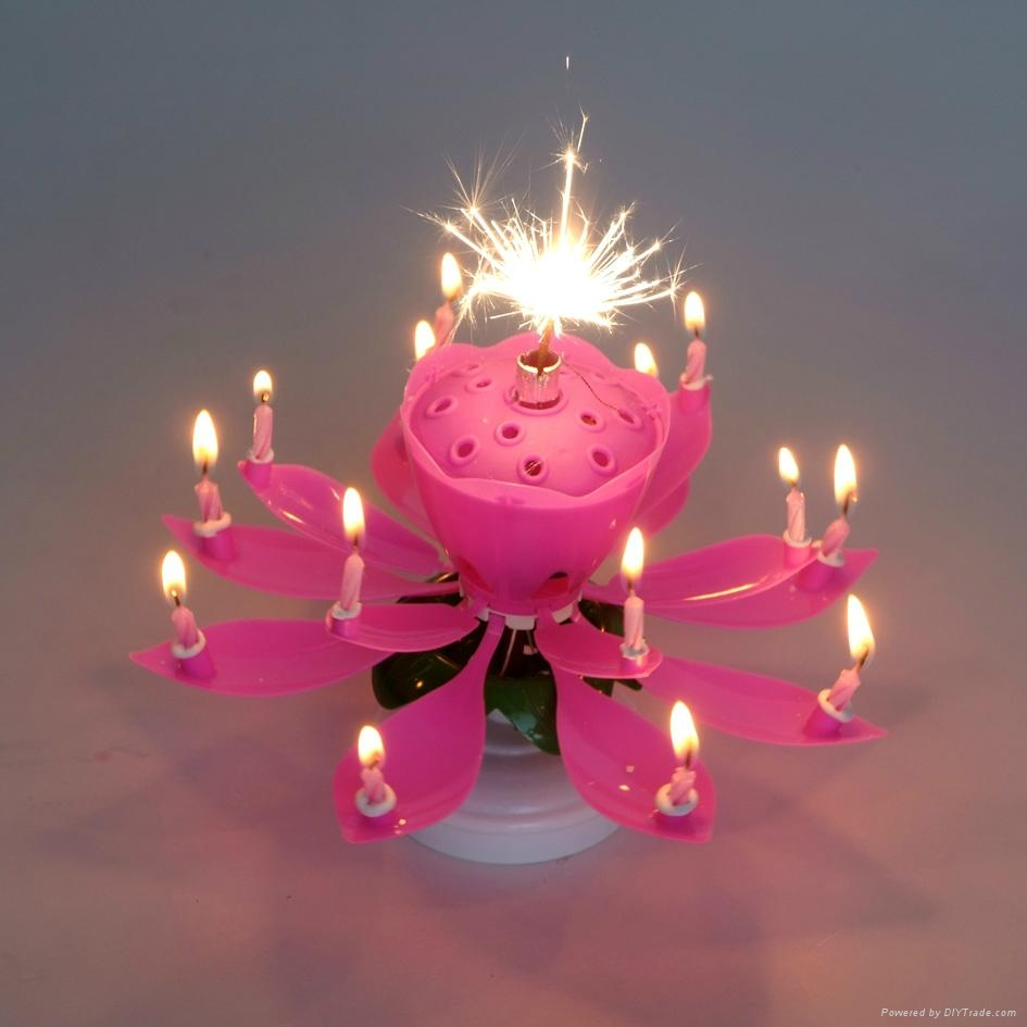 Happy Birthday Pink Lotus Flower Rotating Musical Party Candle 1Pc Decoration