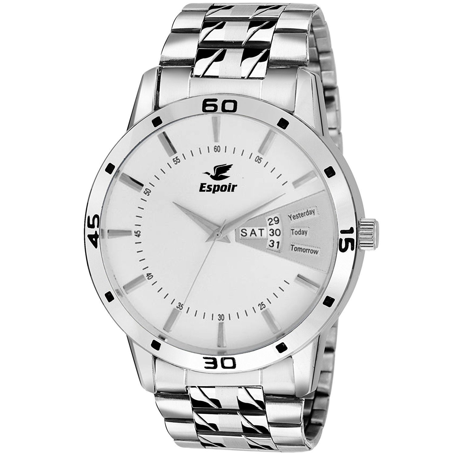 Espoir Analog White Day and Date Dial Men's Watch 2038 WH